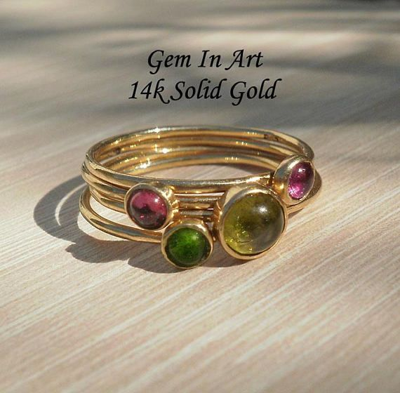 Solid Gold Dainty Ring14K Solid Gold Stacking RingSet of