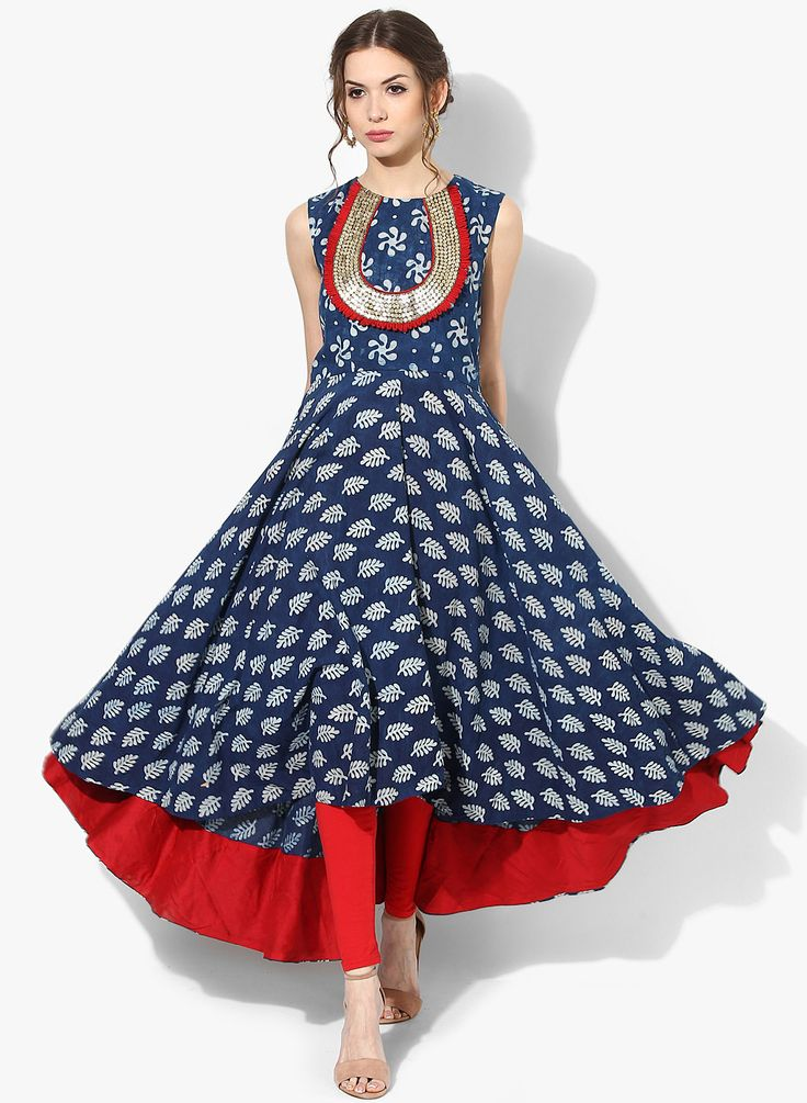 Sangria Round Neck Printed Anarkali With Attached Sleeveless