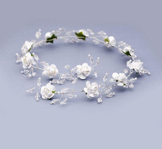 Flower crown ivory crystal hair vine bridal by FloralHeadpiece