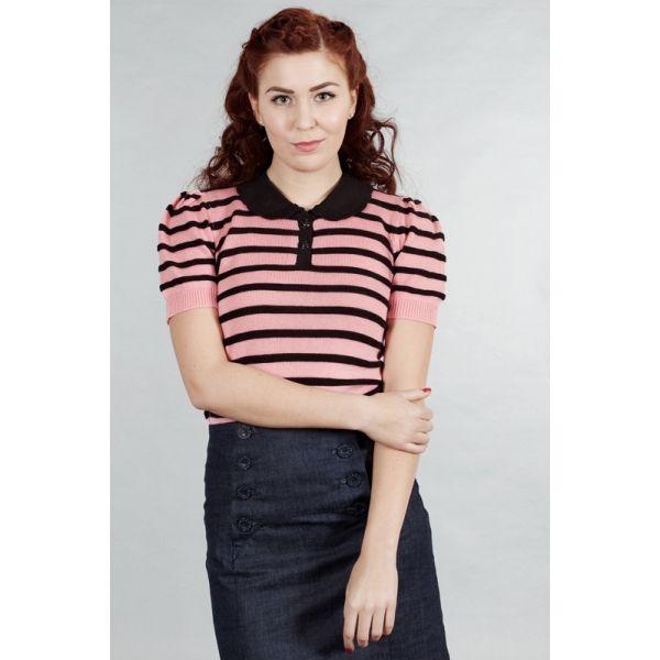Maglioncino a righe rosa e nero