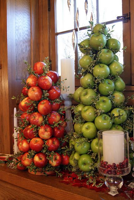 Apple Topiary/Tree in the kitchen. Many ideas for Christmas decorations, gift wrappings, and all around tree decor.