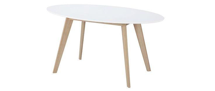 Table ovale 150cm blanche et bois clair LEENA