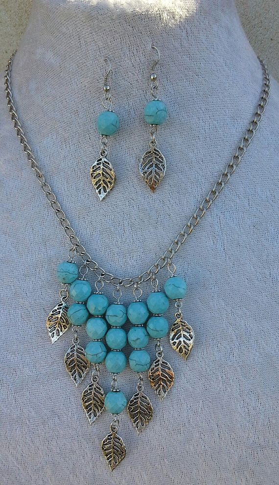 Turquoise Unique Hanging Beaded Necklace Set by Sounique2013, $40.00