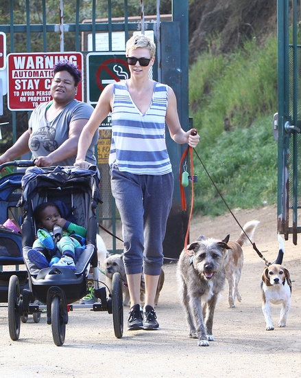 Charlize Theron hikes with Jackson and her pups