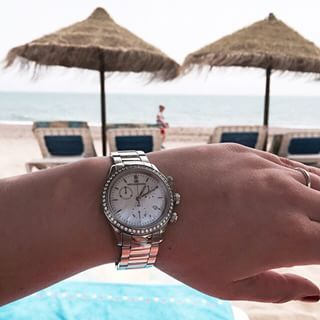 Sjöö Sandström Royal Steel Chronograph.  #sjöösandström #sjoosandstrom #watch #watches #watcheswoman #ladies #diamonds #beach #pool