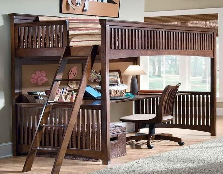 Kids loft bed with desk genial most as well as kids bunk for Queen bunk bed with desk