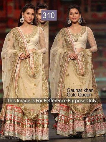 Gauhar Khan Gold Bollywood Lehenga | Veeshack Shop