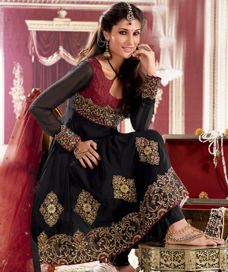 Black Churidar Kameez Set