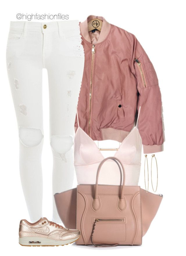 """Bomber Style"" by highfashionfiles ❤ liked on Polyvore featuring Frame Denim, Topshop, NIKE, Oscar de la Renta, Dean Harris and Monique Péan"