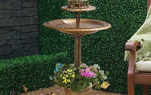 My Garden Path Abreuvoir et mangeoire pour oiseau effet bronze avec lampe solaire: Bain, mangeoire et abreuvoir pour oiseaux avec lampe de…