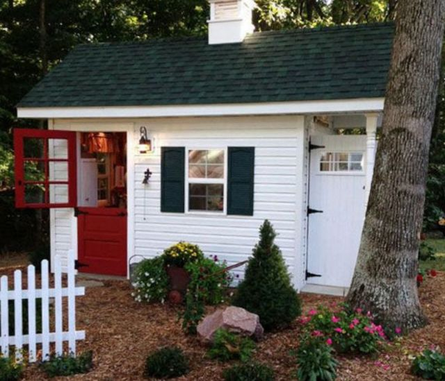 She sheds a collection of ideas to try about outdoors for Shed office combo