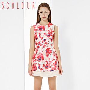 [Proiectat pentru] trei culori 2015 nouă primăvară sifon fără mâneci rochie tiv cusut Femeia lumină roșie