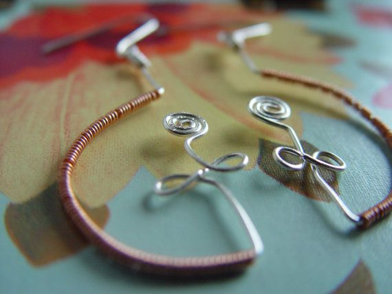 silver earrings with sterling silver hooks, wire work roses, copper wire. made in ireland. on Etsy, 20,00 €