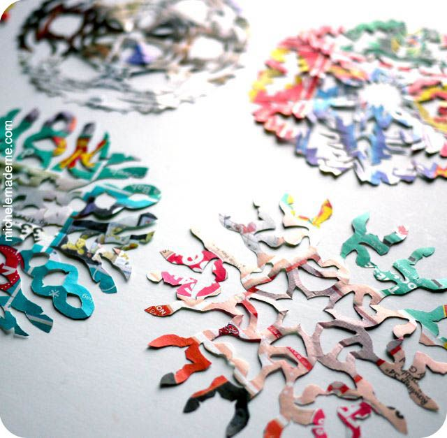 Snowflakes made out of your junk mail--colorful, and with the thin design of these you can't even see all the crappy ads that made them junk mail in the first place. Now they're just free crafting supplies sent to your door!