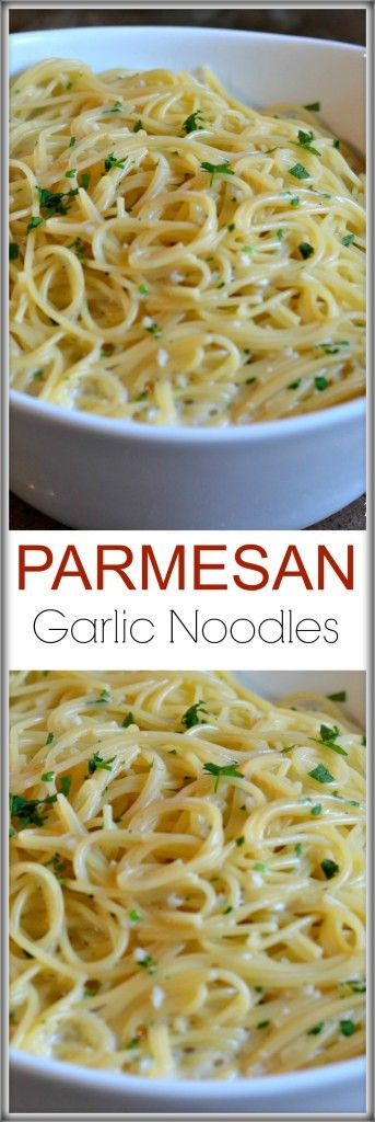 PARMESAN-GARLIC-NOODLES- 3 teaspoons olive oil 5-6 cloves fresh garlic, minced 3 Tablespoons butter 3 cups chicken stock 1/2 box angel hair pasta 1 cup freshly grated Parmesan cheese 3/4 cup half and half (or whole milk) 1/2 teaspoon salt 1/4 teaspoon pepper 1-2 Tablespoons fresh parsley, chopped fine