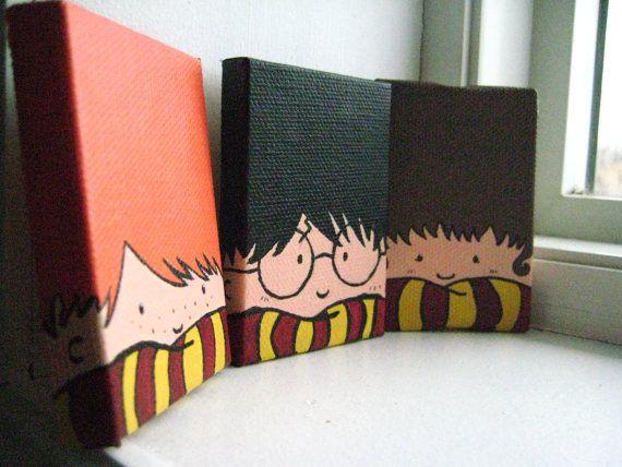 Aimants Trio peintes Harry Potter