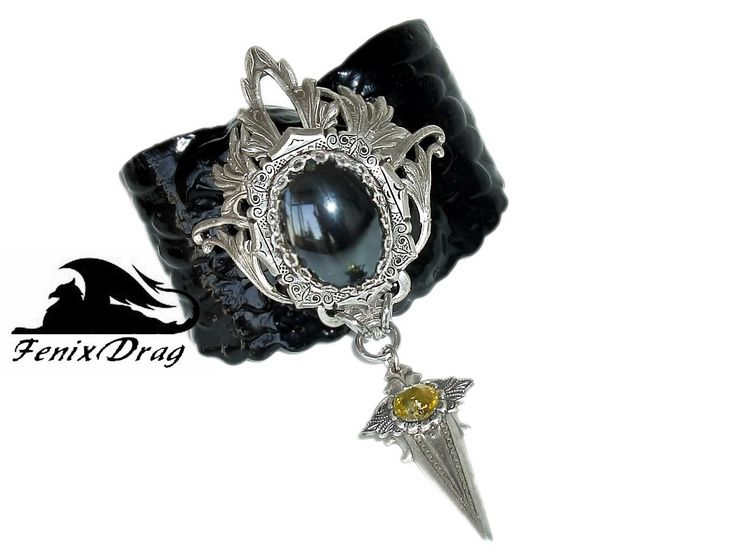"""Wide black bracelet """"Wings"""" with a pendant from the collection """"Black Vintage"""" in the style of Gothic, Steampunk, Vintage jewelry"""