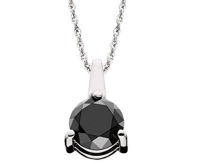 Black Round Diamond Pendant in 14k White Gold ►► http://www.gemstoneslist.com/jewelry/black-diamond-necklaces.html?i=p