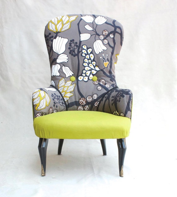 Floral wing-back chair - $166