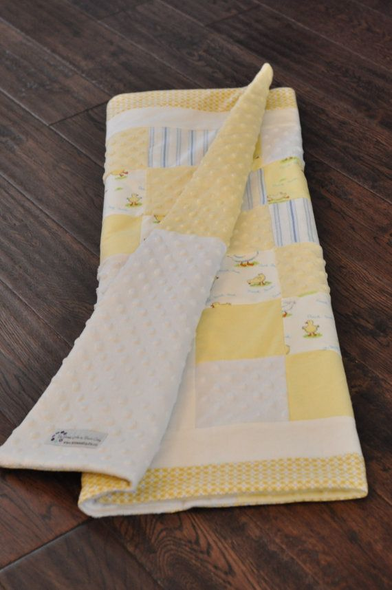 Yellow and white Duckling baby quilt. Minky and flannel fabric.