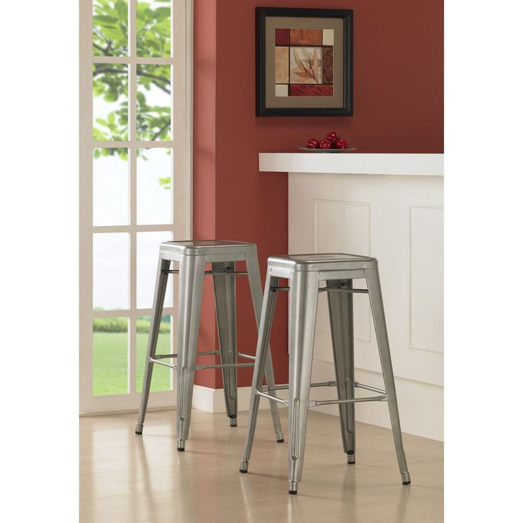 Still trying to figure out where I can buy these painted green.... Tabouret 30-inch Metal Barstools (Set of 2) | Overstock.com