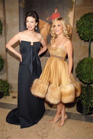 Vogue contributing editor Marina Rust Connor with the adorable, perfectly coiffed socialite Tinsley Mercer Mortimer. Tinsley's hair color and style: Oscar Blandi, dress: J. Mendel.