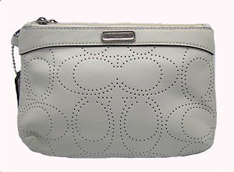 Coach Logo Perforated Cosmetic Wristlet Case Bag 47330 White Coach. $89.99