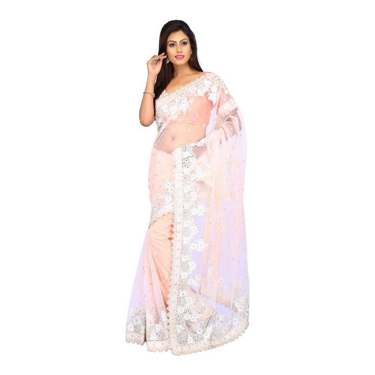 Exclusive Designer party Wedding Light Peach Net Women Lovely Saree with Blouse #Milonee #NewDesignerSaree