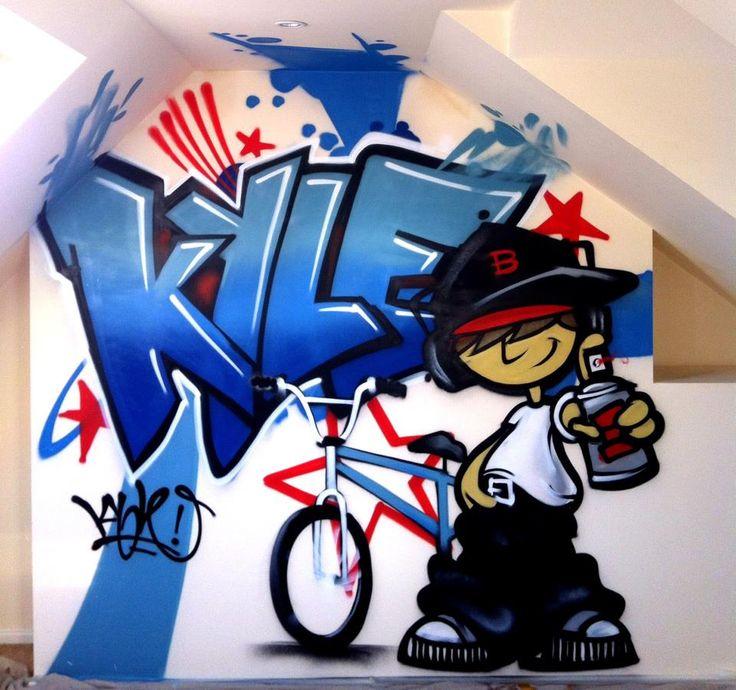 children / teen / Kids Bedroom Graffiti mural - hand painted Kyle BMX graffiti bedroom design #graffitibedroom #interior design