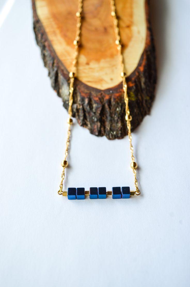Blue Hematite stone cube on 18K Gold filled Necklace/Hematite Necklace/Cube Necklace/Stone Bar Necklace/Modern Gemstone Elegant Necklace by DaintyStonesJewelry on Etsy