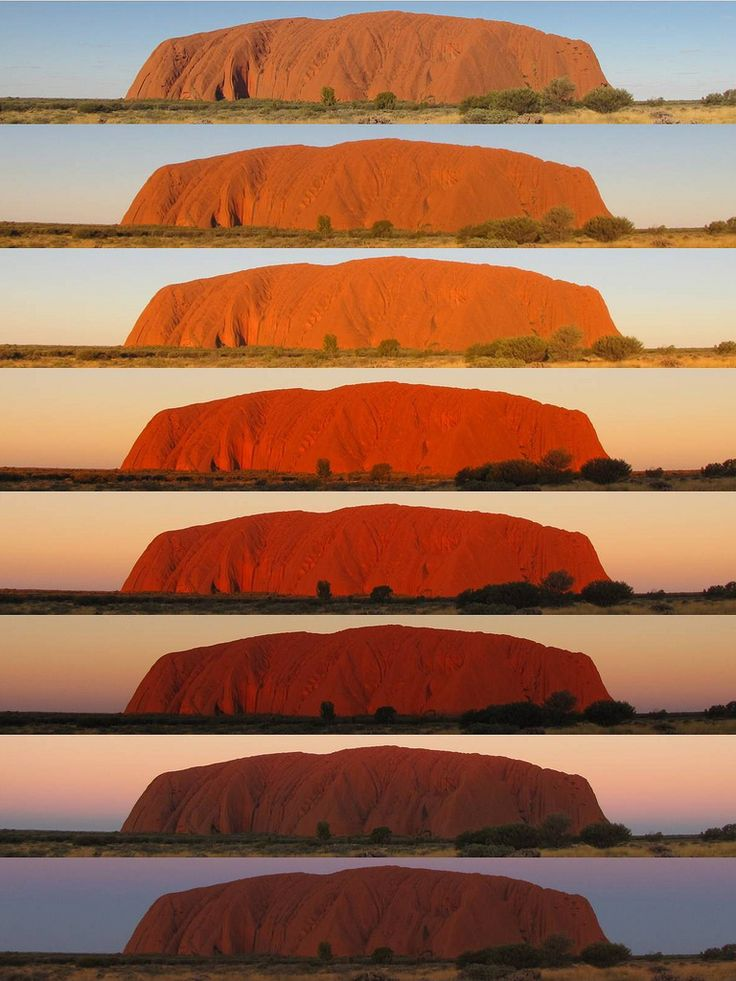 The legendary colour change of Uluru during sunset, Northern Territory, Australia