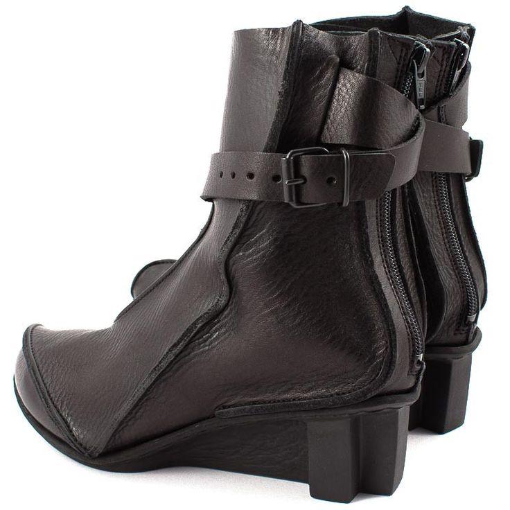 Trippen Captain Damen Stiefelette Ankle Boot Zip Buckle Schnalle schwarz