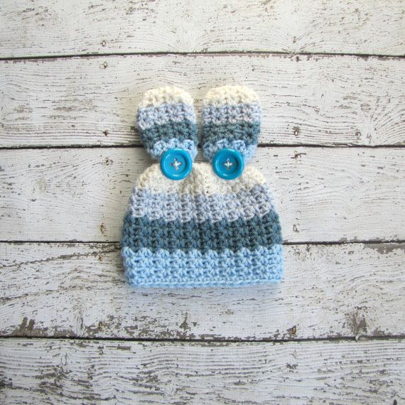 Newborn Boys Bunny Hat Custom Colors Welcome! Bunny Set (hat with pom pom tail) available here:  https://www.etsy.com/listing/173502164