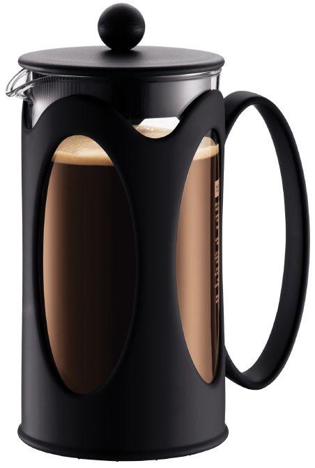 Bodum Kenya Cafetiere 8 kops 1L Zwart  Bodum Kenya Cafetière 1L: Voor heerlijke koffie binnen een handomdraai Met de prachtige Bodum Kenya Cafetière 1L maak jij de heerlijkste verse koffie klaar. De beker is vervaardigd van hittebestendig glas en het deksel hierop zorgt ervoor dat de beker goed afgesloten wordt. Hierdoor blijft de koffie lekker warm en bovendien wordt er op deze manier geen hete koffie gemorst. De bodem en het handvat zijn van kunststof. De cafetière is met een inhoud van 1…