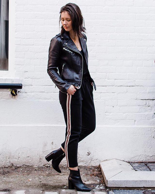 4be20f6e79a3 Anine Bing Natalie Boots. Mackage Rumer Jacket. Aritzia silk camisole.  Athleisure style