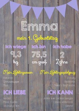 Emma 1. Geburtstag www.kreidezeit.co.at  1st Birthday Memory chalkboard