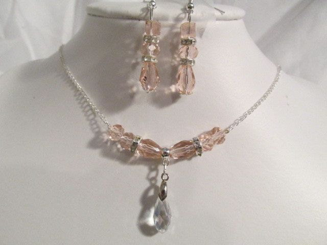 Bridesmaid Jewelry, Pink Champagne and Clear Swarovski Crystal Jewelry Set(6 sets) by RockyJewelryDesigns on Etsy