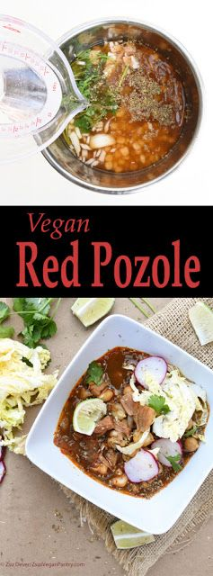 #Vegan Red Pozole, a traditional Mexican stew made with pozole corn. This version features chickpeas, jackfruit and hominy. By Zsu's Vegan Pantry. #vegetarian #meatless