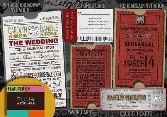 Theater ticket Wedding Invitation, RSVP, --Printed or Digital Download option