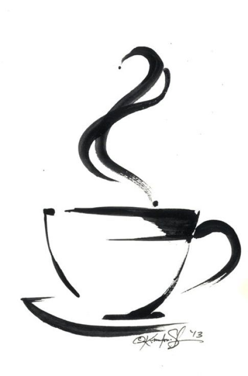 ARTFINDER: Brushstroke Coffee Cup No.5 by Kathy Morton Stanion - This is a small painting  that was originally created for a logo design concept but I did not use it.  It was painted on thin drawing paper.  I think that it...