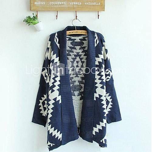 [USD $ 22.79] Women's New Geometric Pattern Cardigan Sweater Wool Sweater Cardigan Outwear