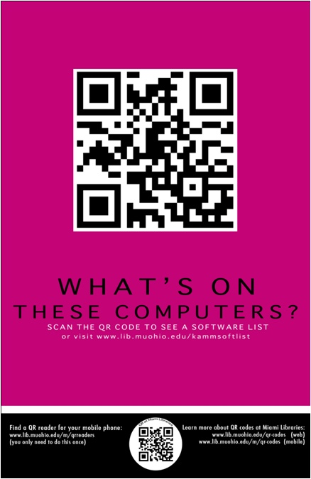Scan Me! QR Codes in Libraries: Miami University Libraries: Jumping right in with QR codes