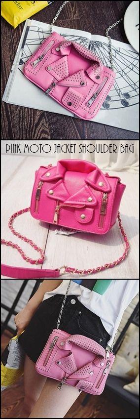 Niedliche, lustige Umhängetasche im PINK-Motorradjacken-Stil. #crossbodybag #pinkhandba …   – Pink Bags