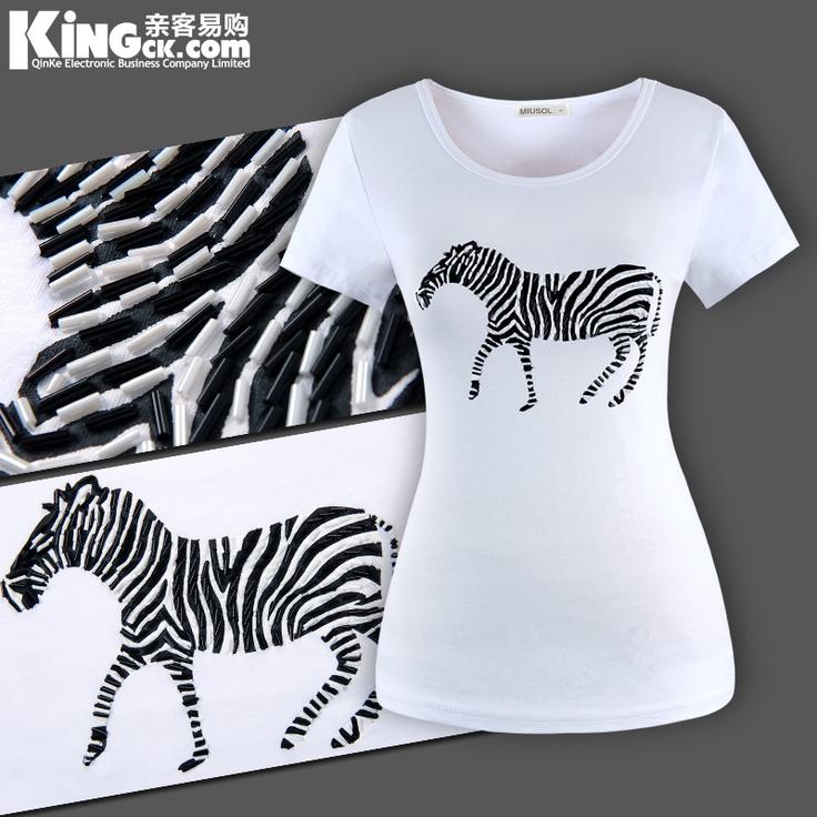订珠立体斑马 新款高端韩版时尚短袖卡通T恤 白色加大码圆领女装-淘宝网