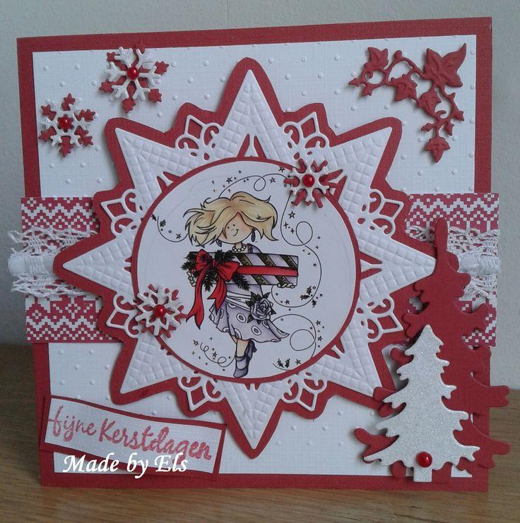 Kerstkaart in wit en rood