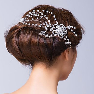 Women's Alloy/Cubic Zirconia Headpiece - Wedding/Special Occasion Hair Pin/Flowers – USD $ 13.99