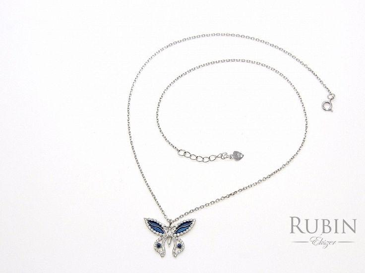 Cirkónia köves pillangó motívumos ródiumos ezüst nyaklánc