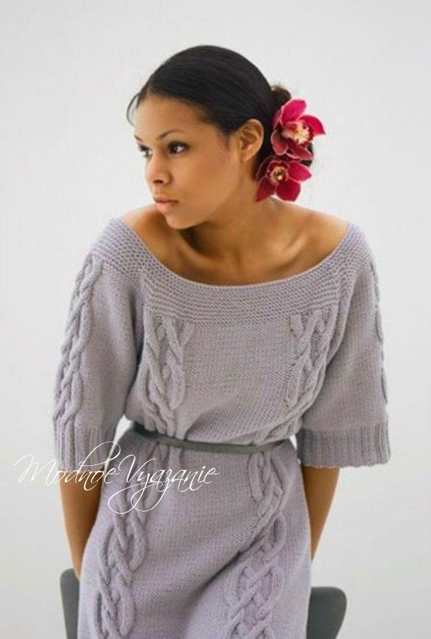 Платье с вырезом лодочка -  Модное вязание