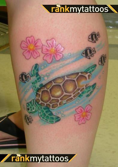 Sea Turtle Tattoos | Sea Turtle Swimming with Fish Animal Tattoo