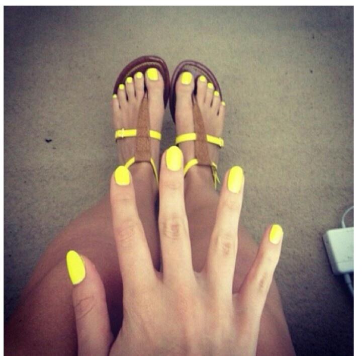 #neon #yellow #nail #polish #nails #manicure #pedicure